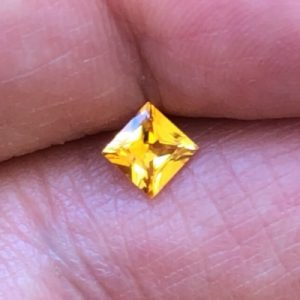 Intense Yellow Sapphire Princess Cut 5mm .63ct.