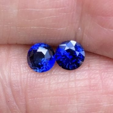 Gem Color Ceylon Blue Sapphire Round 5.5mm Pair .65ct