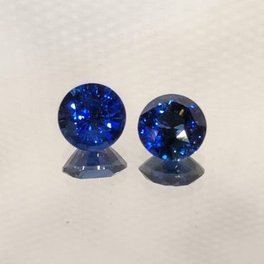 Gem Color Ceylon Blue SapphireRound 5.5mm Pair .65ct