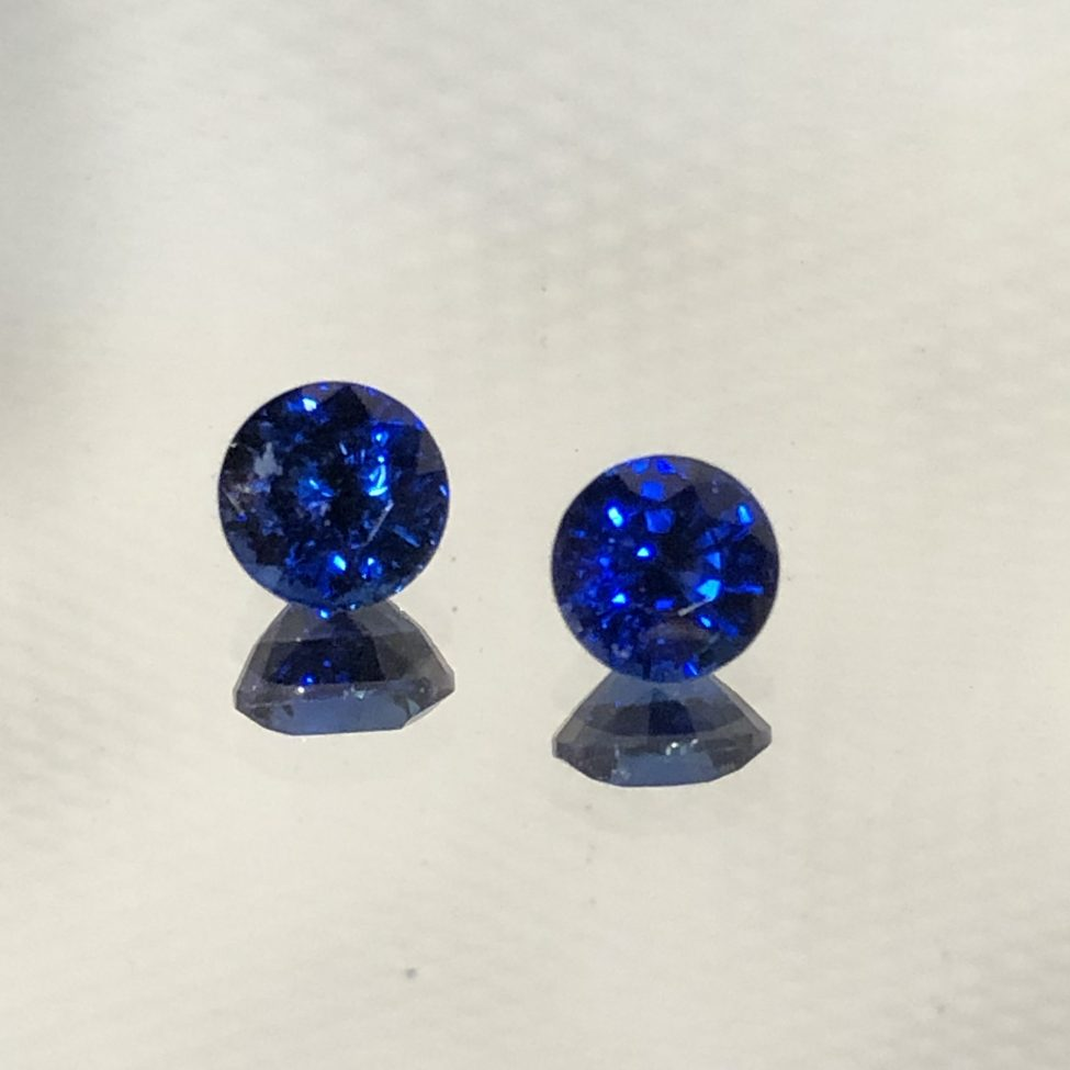 Gem Color Ceylon Blue SapphireRound Pair 4.5mm • 1.03tw