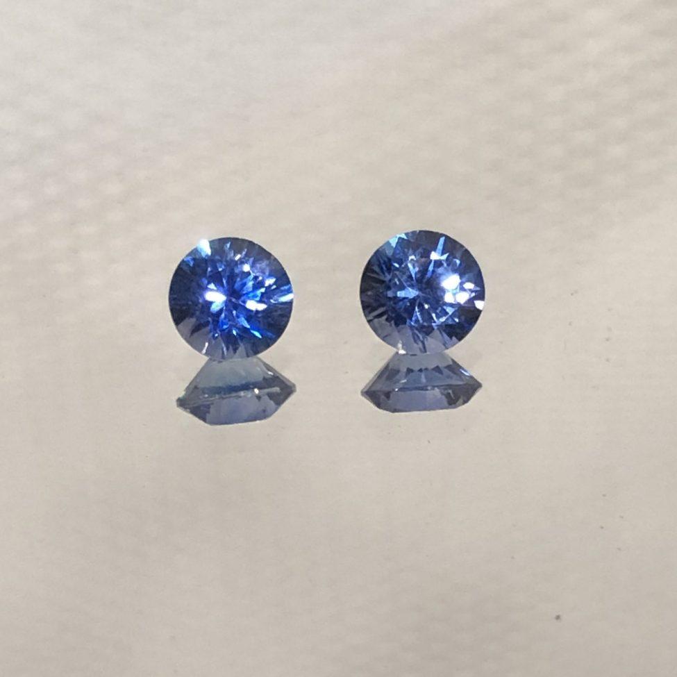 Fine Ceylon Blue SapphireRound Pair 4mm .68tw